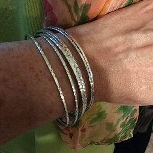Jewelry - VINTAGE STERLING SILVER STACKED BANGLE BRACELETS